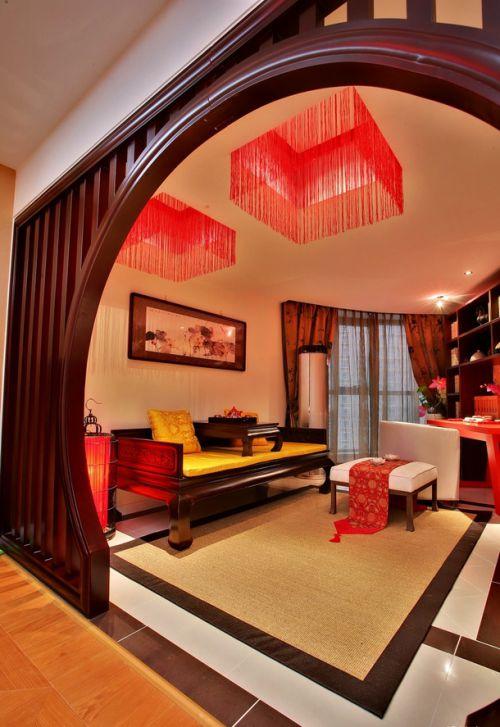 中式优雅客厅隔断装修