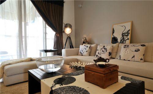 中式风格休闲米色客厅装饰设计图片