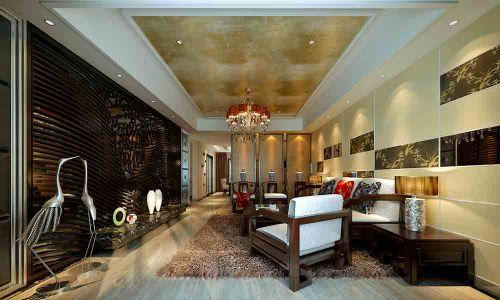 新中式风格温暖氛围客厅装修设计图片