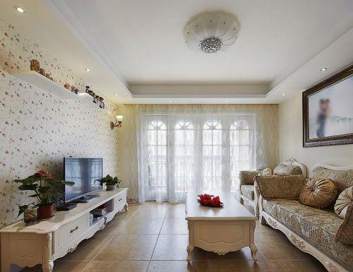 浪漫甜美田园风格白色客厅图片欣赏