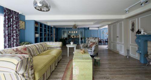 时尚雅致蓝色田园风格客厅装潢设计赏析