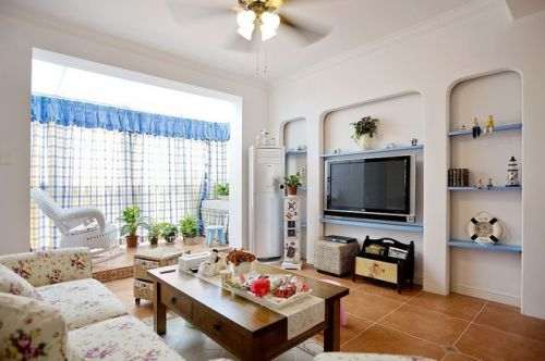 田园温馨风格白色优雅客厅装修图片