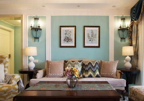 浅蓝混搭客厅背景墙设计