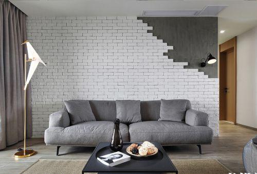 水泥色简约斑驳客厅背景墙设计