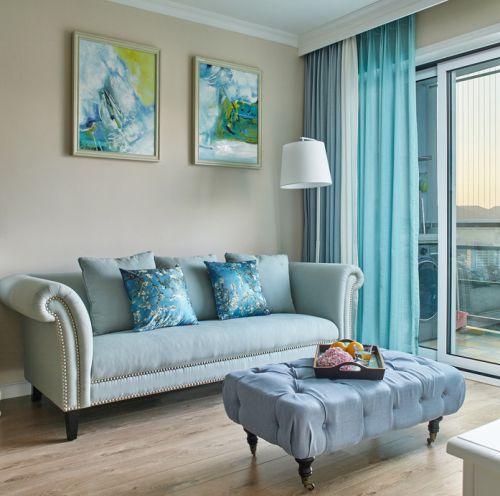 美式经典蓝色客厅沙发装饰