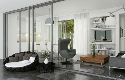 灰色简约风格客厅装饰设计图片