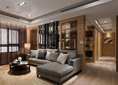 灰色简约时尚风格客厅吊顶设计案例