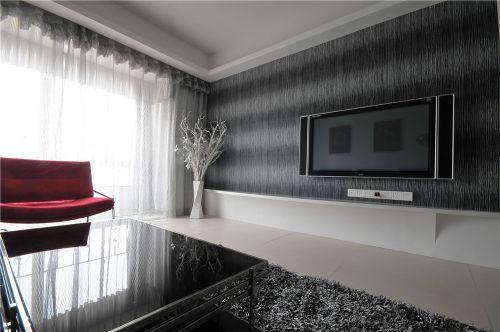灰色简约风格客厅背景墙装修图