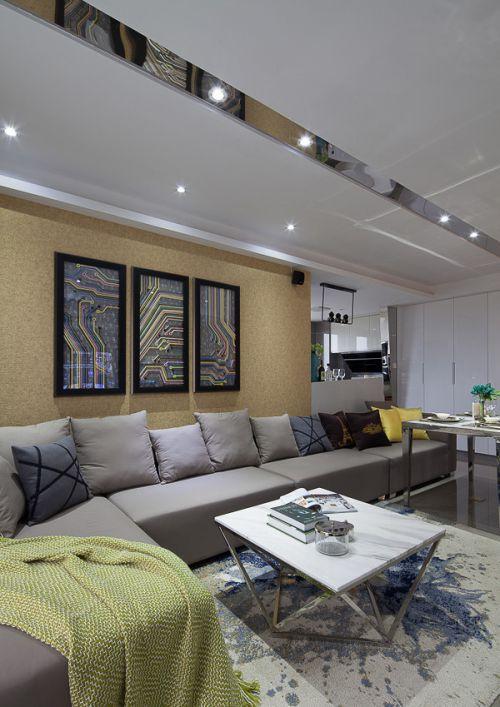 都市现代时尚简约灰色客厅吊顶欣赏