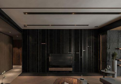 纯黑现代客厅背景墙设计