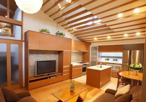 原木现代客厅背景墙设计