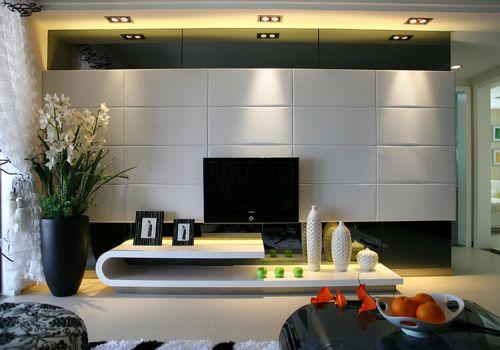 纯白现代客厅背景墙欣赏