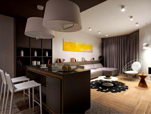 褐色现代风客厅连吧台装饰图