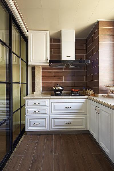 地中海美式清新厨房效果图