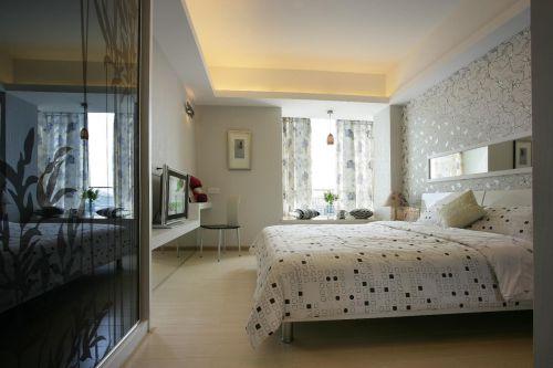 现代简约卧室窗帘门窗效果图