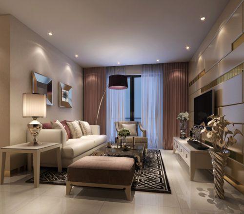 混搭客厅窗帘电视背景墙设计图