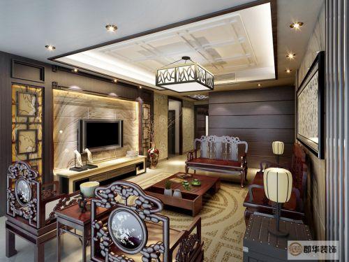 中式中式风格新中式客厅吊顶电视背景墙设计方案