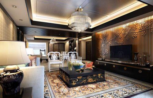 中式客厅吊顶电视背景墙设计案例