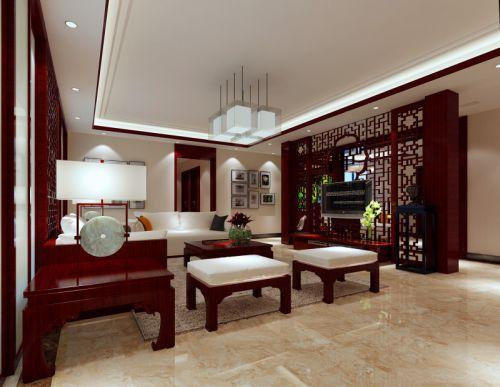 中式中式风格客厅吊顶电视背景墙设计案例展示