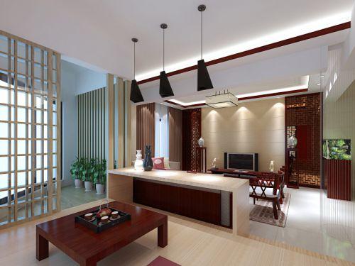 中式客厅吊顶电视背景墙设计方案