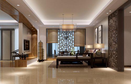 中式客厅吊顶电视背景墙设计案例展示