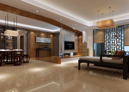 中式客厅吊顶电视背景墙装修案例