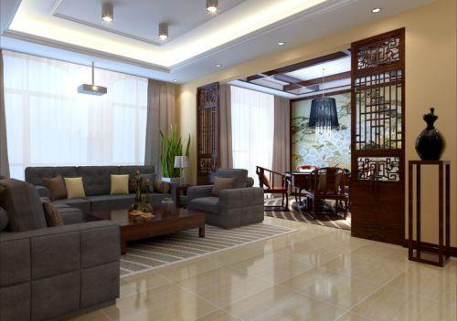 中式客厅吊顶装修案例
