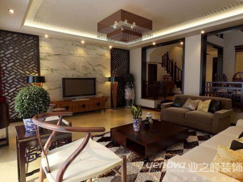中式新中式客厅电视背景墙设计案例