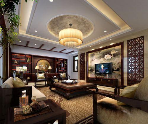 中式客厅吊顶电视背景墙效果图