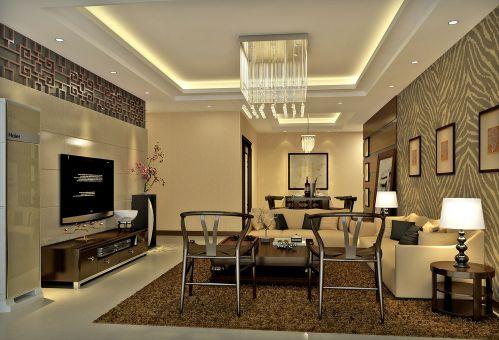 中式现代新中式客厅电视背景墙效果图