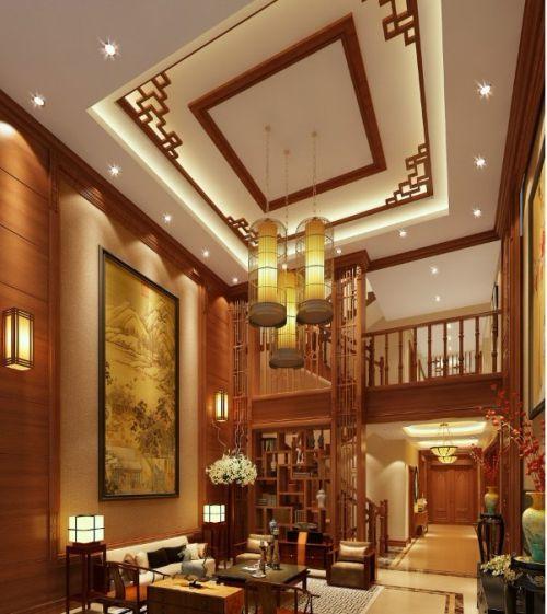 中式中式风格客厅别墅装修效果展示
