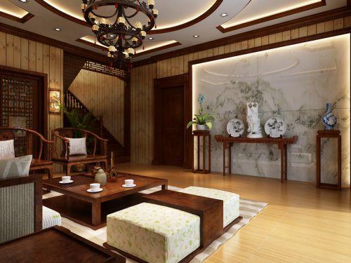 中式中式风格客厅吊顶装修案例