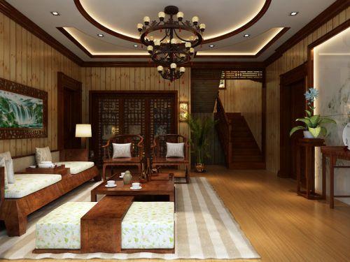 中式中式风格客厅吊顶装修图