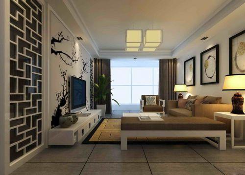 中式客厅电视背景墙装修图