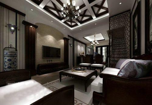 中式新中式客厅电视背景墙设计图