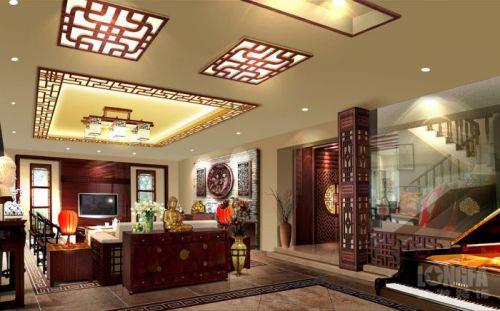 中式客厅电视背景墙设计图