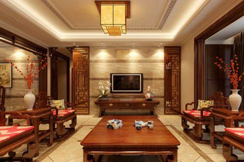 中式中式风格客厅吊顶电视背景墙装修图