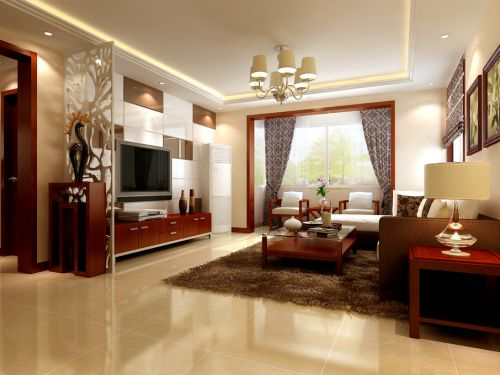 中式中式风格客厅电视背景墙装修案例