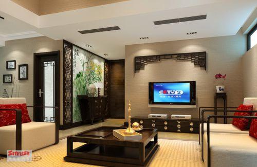 中式中式风格新中式客厅吊顶电视背景墙装修效果展示