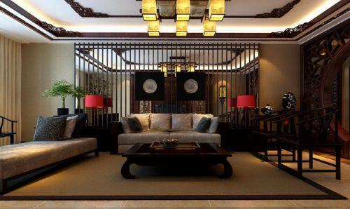 中式中式风格客厅吊顶装修效果展示