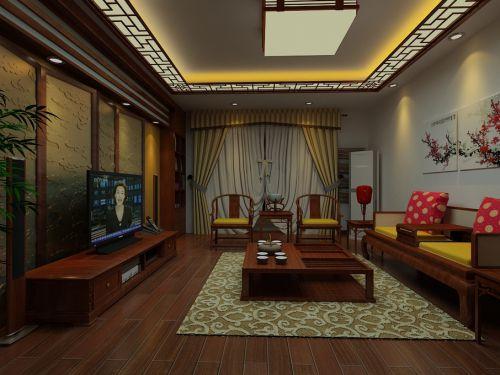 中式中式风格客厅电视背景墙设计案例