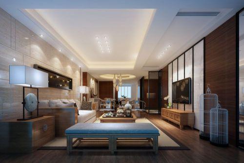 中式客厅吊顶电视柜电视背景墙设计案例