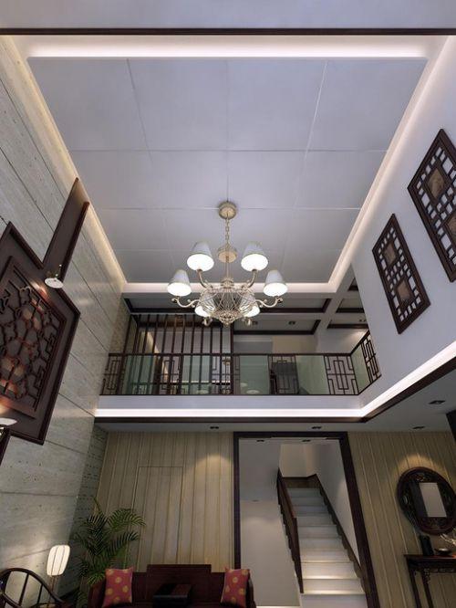 中式客厅吊顶楼梯效果图