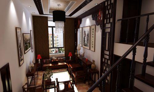 中式客厅复式楼吊顶窗帘楼梯设计方案