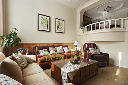 现代简约中式美式混搭客厅设计方案