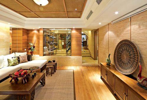 中式客厅背景墙沙发电视柜效果图