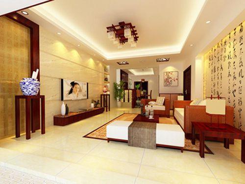 中式客厅吊顶电视背景墙装修图
