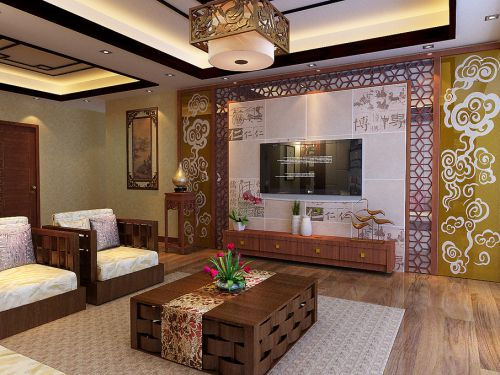 中式客厅沙发电视柜电视背景墙设计案例展示