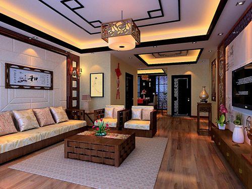 中式客厅吊顶沙发电视柜茶几装修图