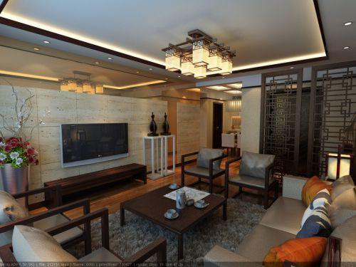 中式中式风格客厅吊顶电视背景墙图片
